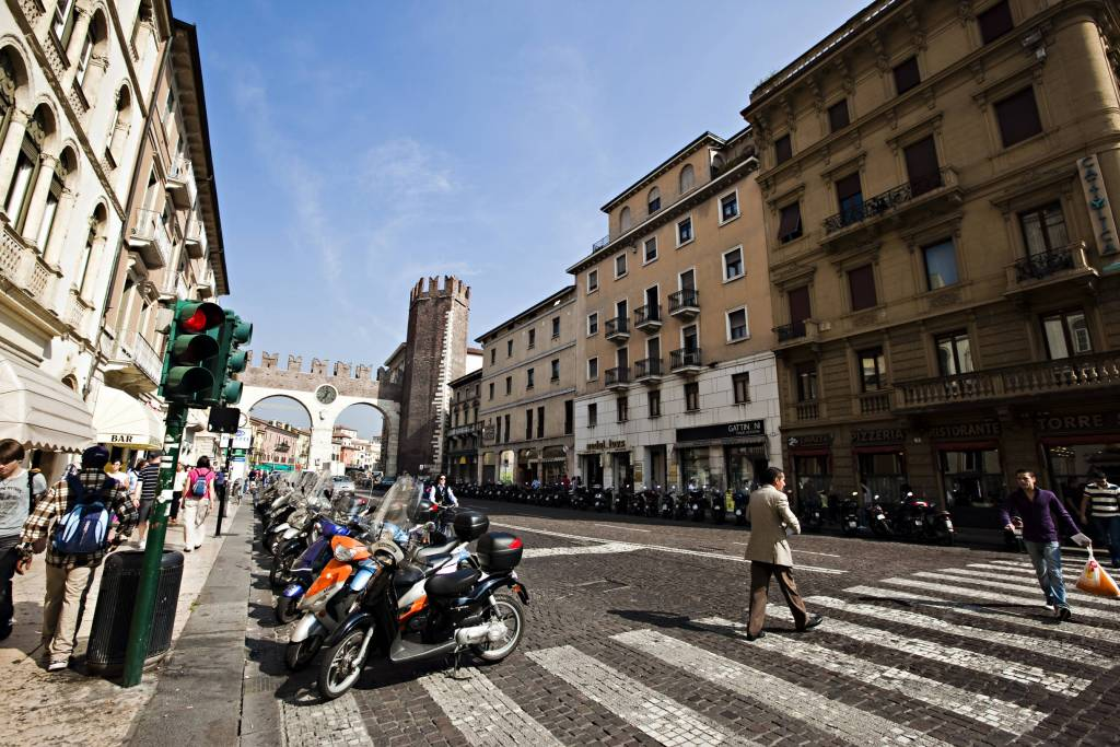 Verona street with moto