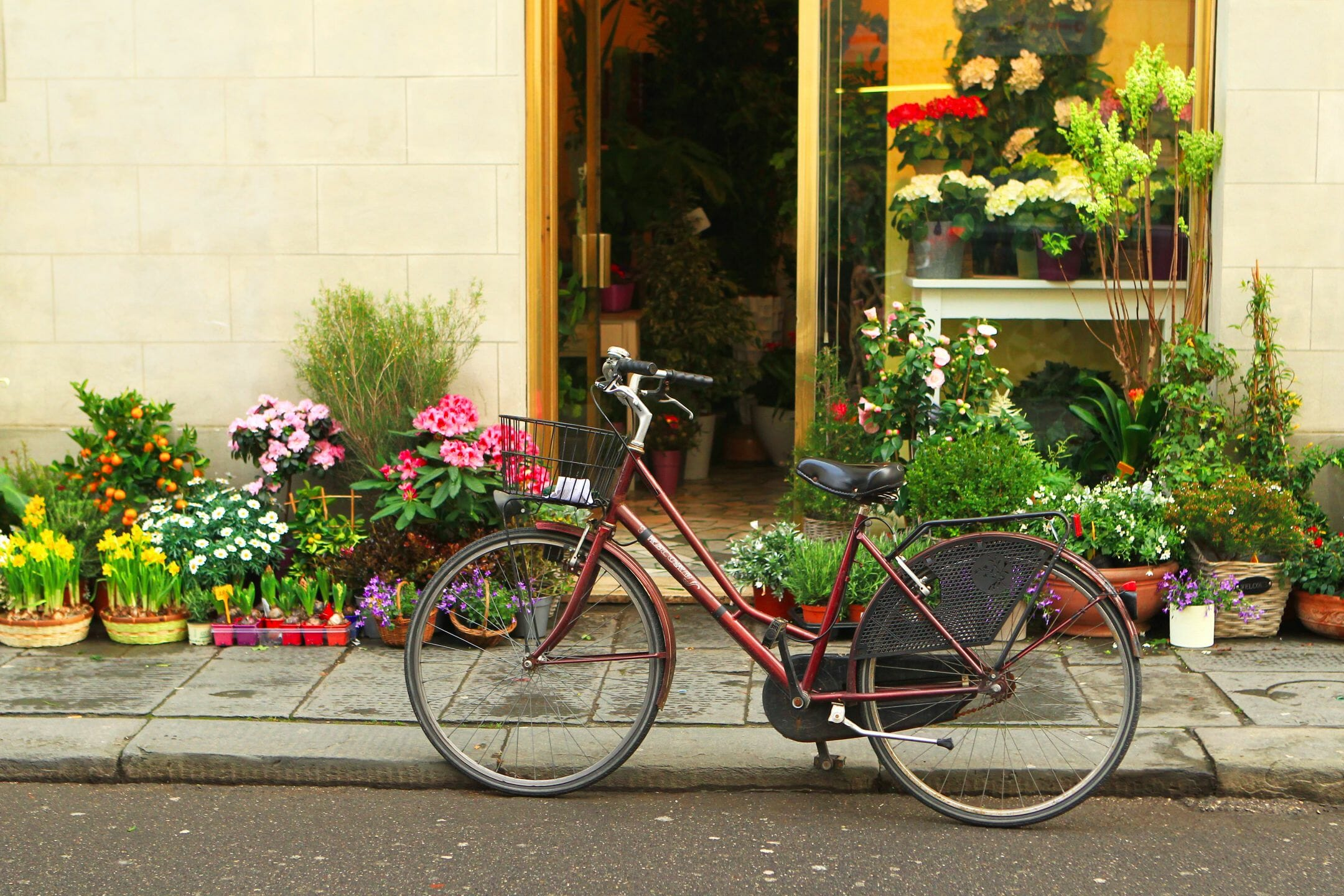 a bike in front of a flower shop. Touring by bike is a great way to stay healthy while traveling