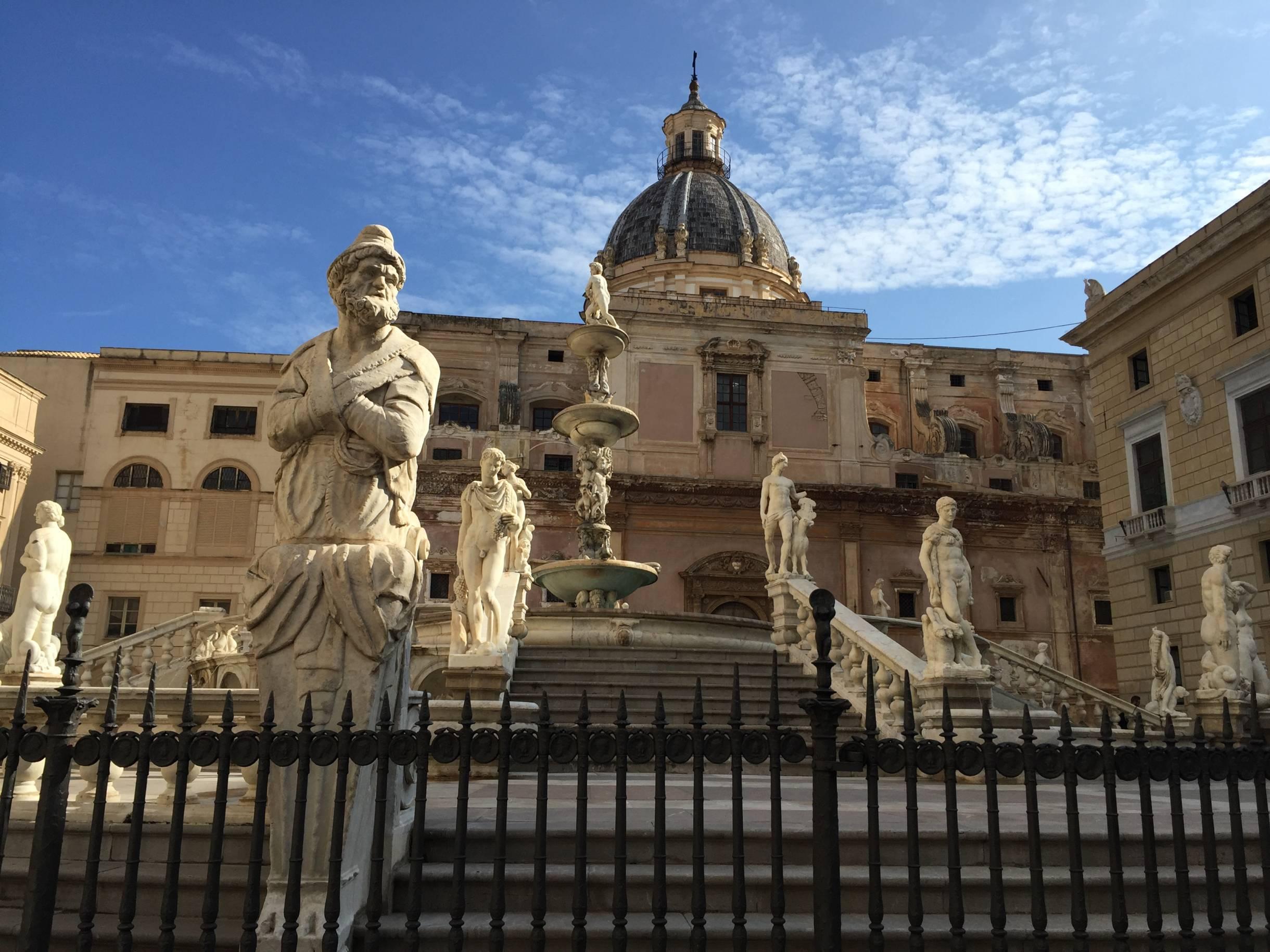 Visit Palermo, Sicily to see the beautiful Piazza Pretoria