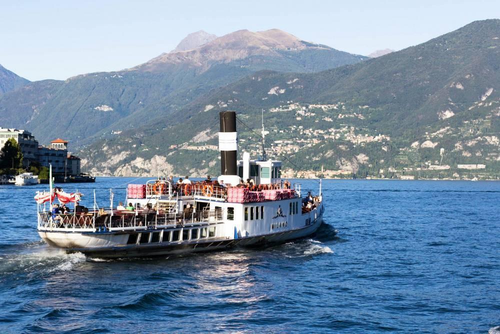 A passenger ferry crossing lake como