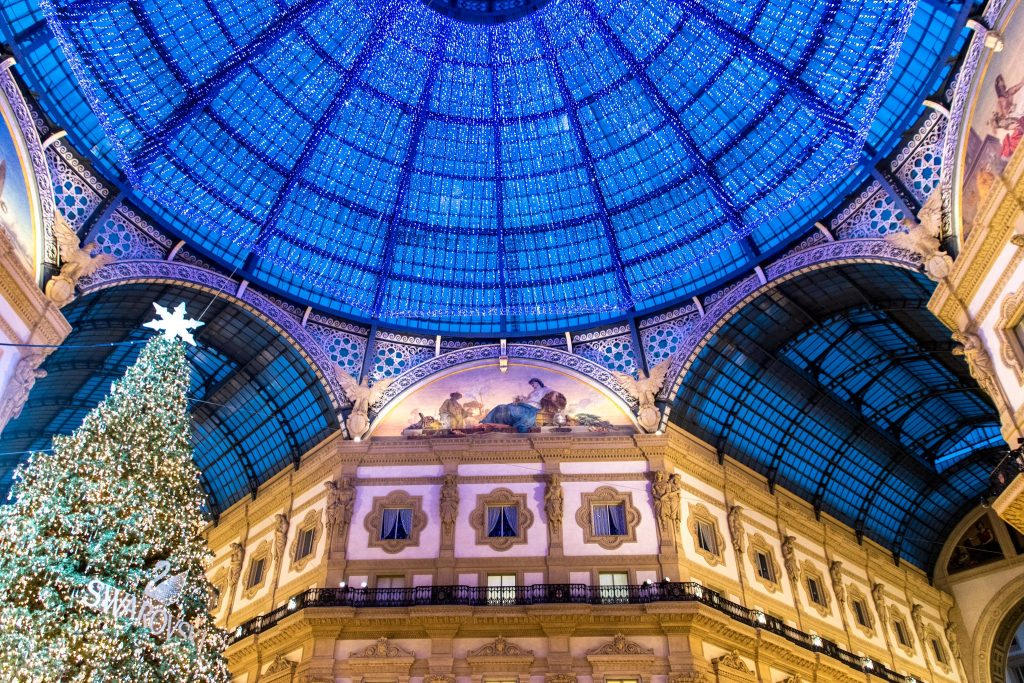 The galleria in Milan with lights and a tree for the holidays in Italy
