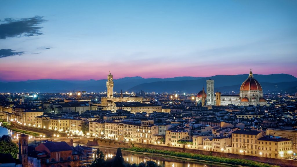 Twilight over the romantic city of Florence