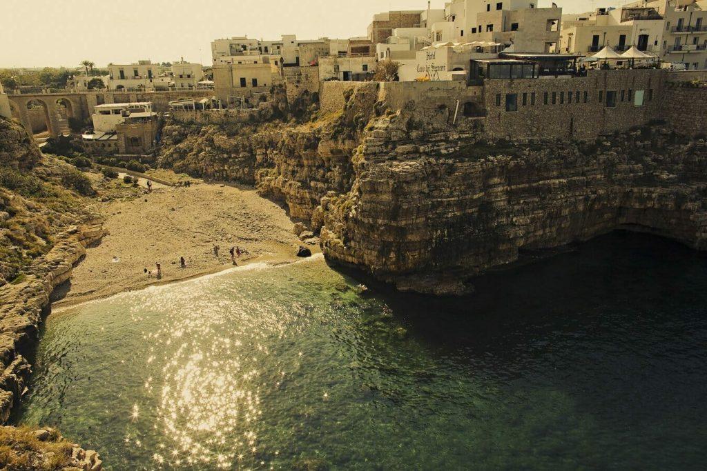 The beautiful beach in Polignano al Mare, Puglia: Where to Find Romance in Beautiful Italy