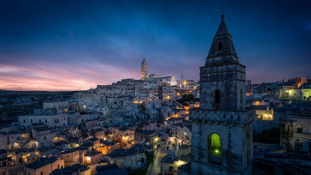 Visit Matera to see this beautiful panorama by night