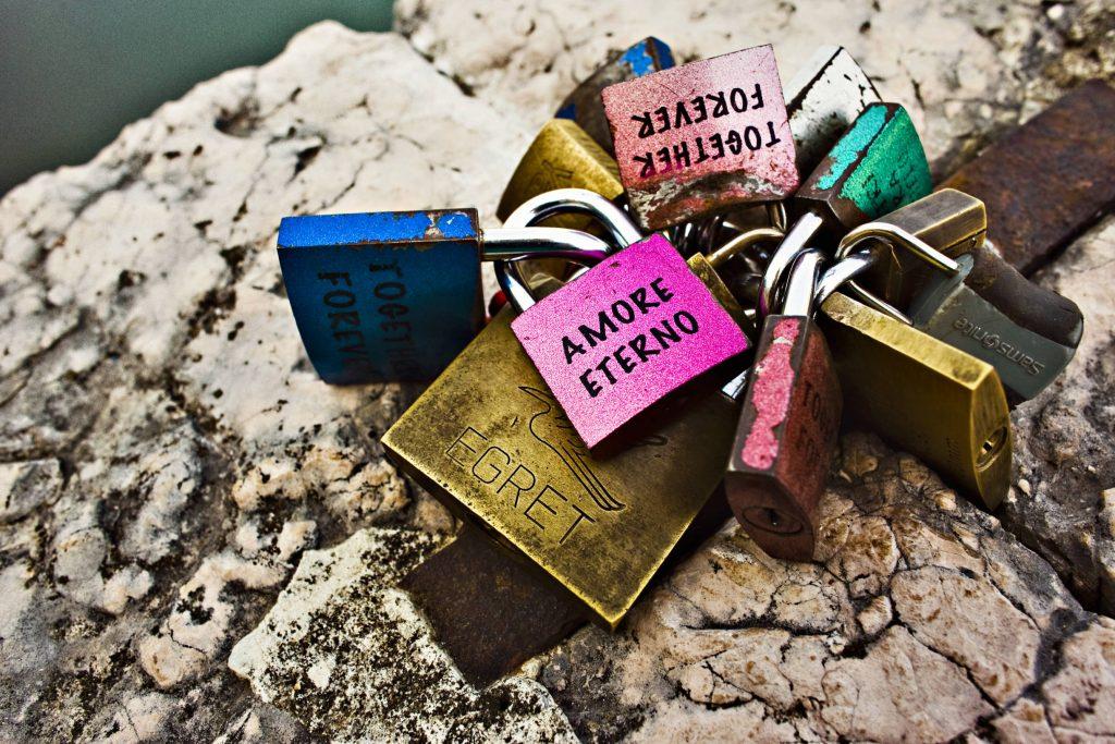 Love locks on a bridge in Verona, one of Italy's most romantic cities