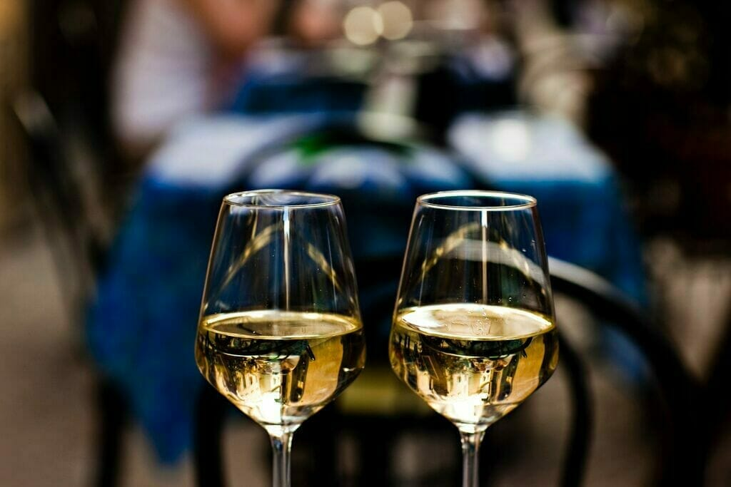 Wine for two at a romantic table in Italy
