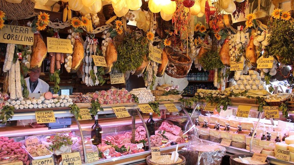 a butcher shop in Umbria