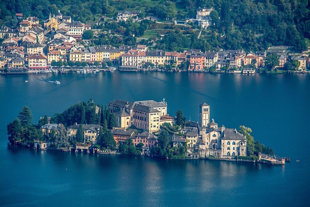San Giulio Island on Orta Lake in Piedmont, Italy
